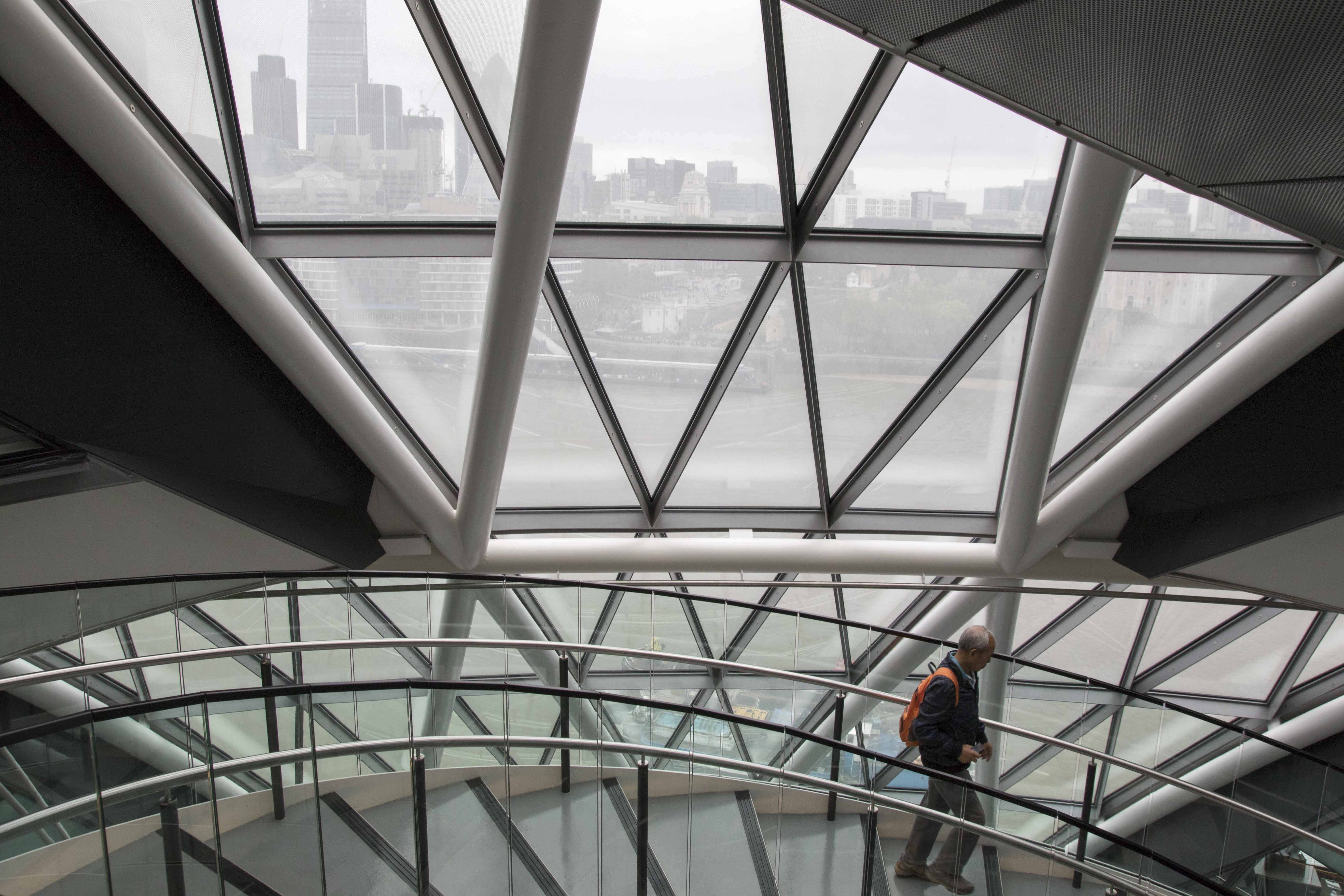 Window frames at London City Hall