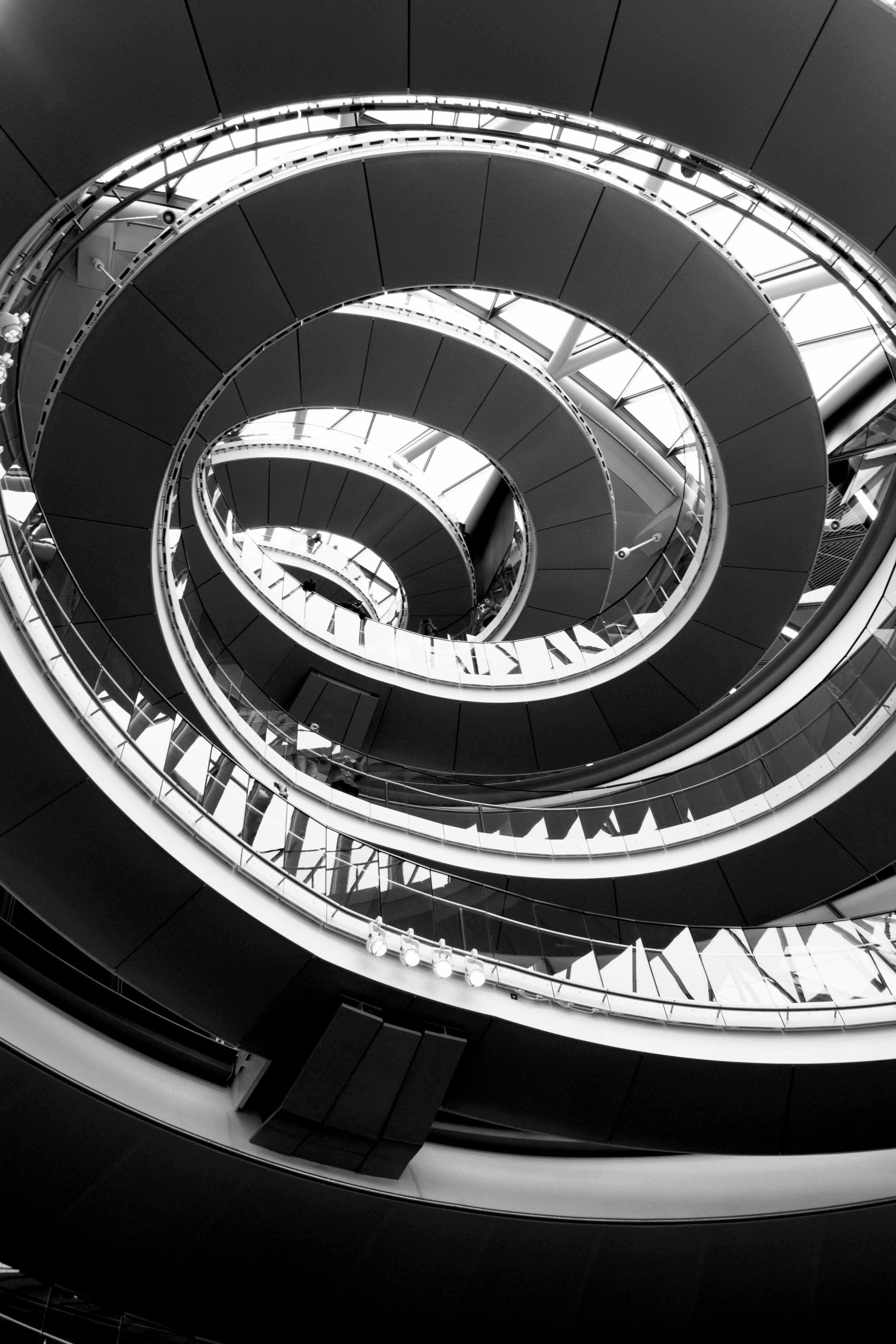 City Hall staircase in B&W