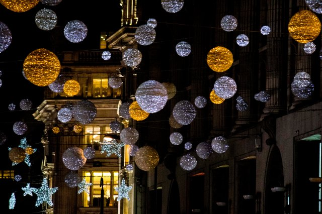 Christmas baubles on Oxford Street